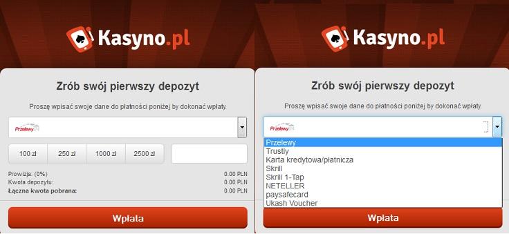 Metody wpłaty na Kasyno.pl