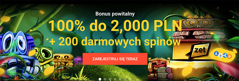 Bonus powitalny 100% do 2000OPLN w kasynie Zet